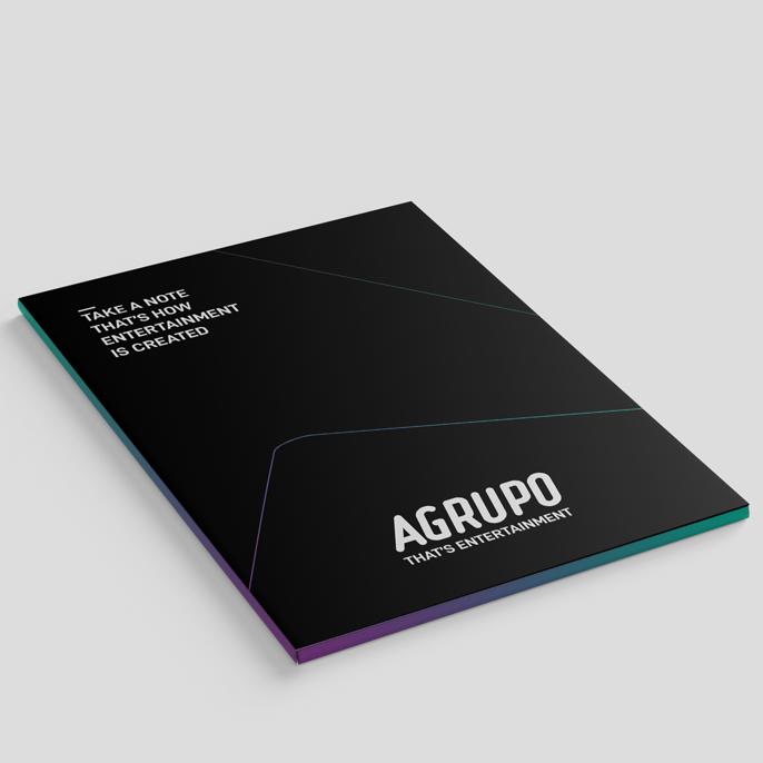 Ejemplo de aplicación de la nueva identidad de Agrupo diseñada por Aracnofobia.
