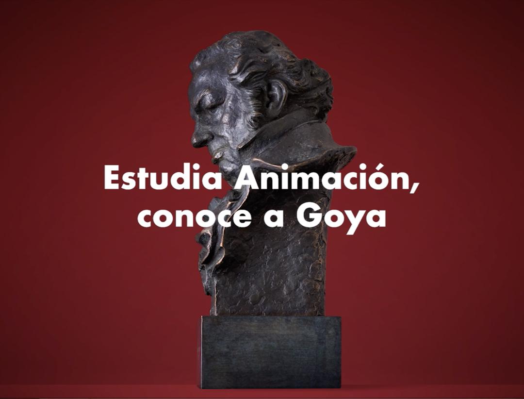 """Estatuilla de los premios Goya y el texto """"Estudia animación y conoce a Goya""""."""